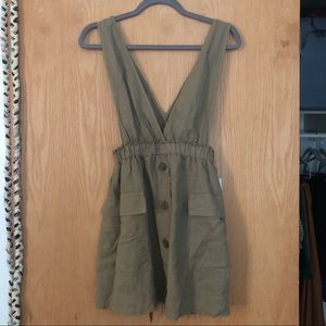 Adorable linen blend dress by Zara, olive green XS
